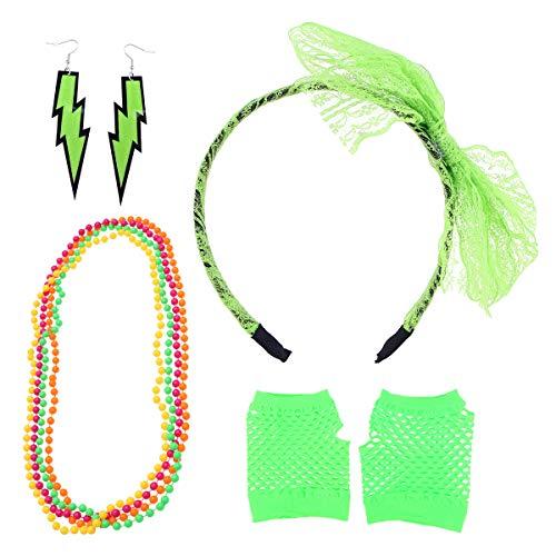 Accessoires Set Spitze Stirnband Neon Halsketten Ohrringe und Fingerlose Netzhandschuhe Set 80er Jahre Kostüm Zubehör (Hellgrün) ()