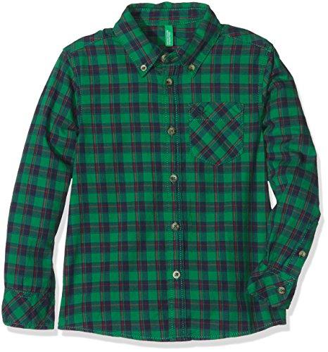 United Colors of Benetton 5AA55Q8D0, Camicia Bambino, Multicoloured (Green Checked), 4-5 Anni