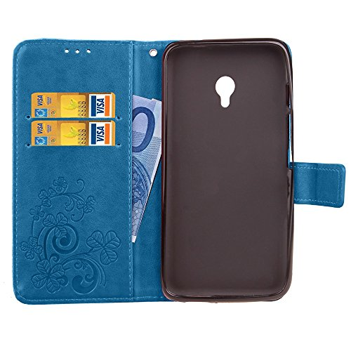 Double Magnetic Back Sucktion Retro Style PU Leder Flip Stand Case mit Kickstand und Wallet Beutel Funktion für Meizu Meilan Note 5 ( Color : Gray ) Blue