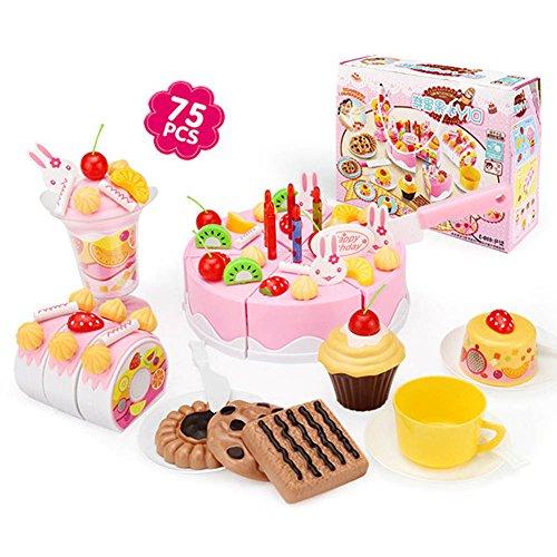 Symboat 75 Pcs/ensemble Cuisine Jouets Filles Pretend Jouer Coupe Gâteau D'anniversaire Enfants Enfants Jouet Éducatif