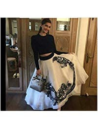 Georgette Printed White Semi Stitched Bollywood Designer Lehenga -D NO 501 Christmas Special Offer
