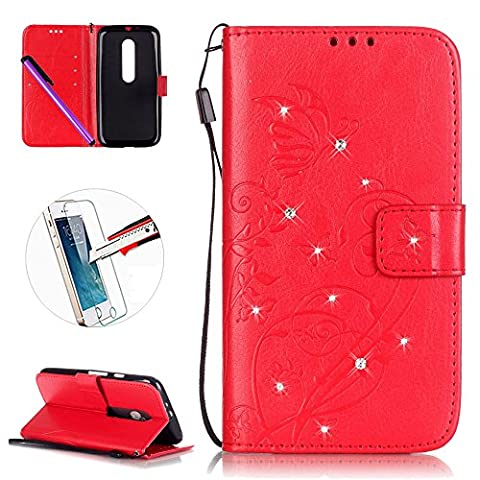 Motorola Moto G 3rd Generation Leather Case G3 Wallet Book Cover , NEWSTARS Lightweight Folio Flip Shiny Bling Rhinestone PU Case Diamond Design Mobile Cell Phone Cover Protect Skin Leather Case For Moto G 3rd Kickstand Card Holder ID Pouch / Cash Pocket / Card Slots + 1Pcs Screen Protector + 1Pcs Stylus Touch Pen - Diamond Red