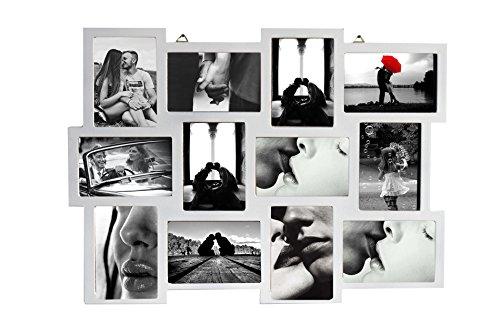 Rebecca mobili porta foto multiplo, cornice fotografie da appendere, 12 immagini 10 x 15, mdf, bianco, per collezione foto - misure: 47 x 60 x 1,2 cm (hxlxp) - art. re4065