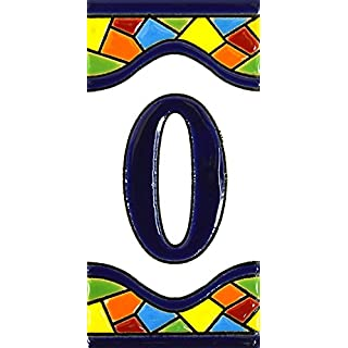 Hausnummer. Schilder mit Zahlen und Nummern auf Keramikkachel. Handgemalte Kordeltechnik fuer Schilder mit Namen, Adressen und Wegweisern. Design MOSAICO MEDIANO 10,9cm x 5,4 cm (Nummer null