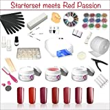 UV-Gel Deluxe Red Passion XXXL Starter Set-Nagelset mit Nailart, UV-Lampe und UV Gel ideales Starterset