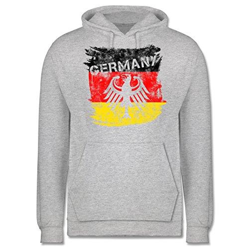EM 2016 - Frankreich - Germany mit Adler Vintage - Männer Premium Kapuzenpullover / Hoodie Grau Meliert