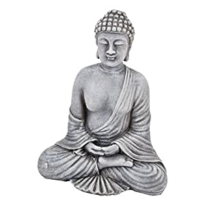 buddha deko objekt clay fibre 22x17x11cm grau figur statue asia. Black Bedroom Furniture Sets. Home Design Ideas