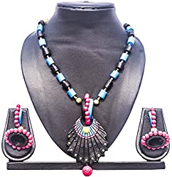 Pentacrafts Terracotta Art Designed Women Girl Necklace Set, Color Multi
