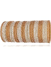 Valentine Gift :NMII Glamorous & Fashionable Golden & Silver Color Glass Bangles Set Studded With Full Zircon...