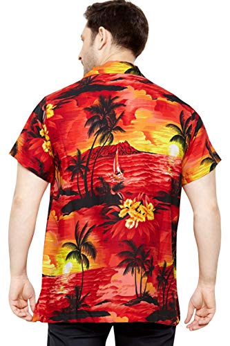 TROPICAL VIBES Men's Regular Fit Classic Short Sleeve Casual Floral Hawaiian Shirt S Red