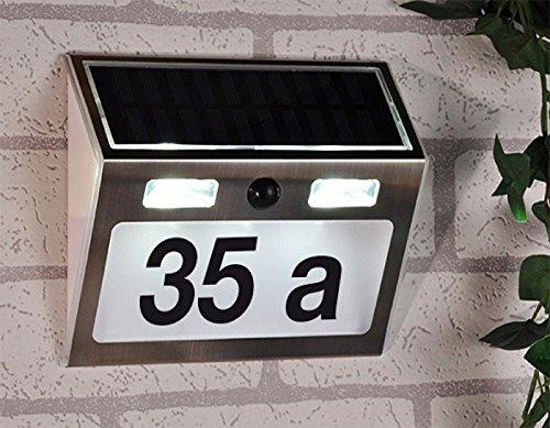 Gravidus LED Solar Hausnummer mit Bewegungsmelder