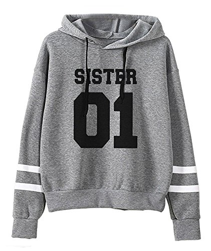 Tomwell Kapuzenpullis Frauen Best Friends Sister 01 Drucken Sweatshirt Damen Langarm Hoodies Pullover Tops Bluse Kapuzen Grau DE 40