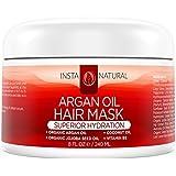InstaNatural Argan Oil Hair Mask - Best Conditioner Treatment for Soft & Silky Hair - With Organic Argan Oil, Organic Jojoba Oil, Coconut Oil, Vitamin B5 & Green Tea - Provides Deep Moisture - 8 OZ