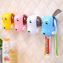 mark8shop perro de dibujos animados baño de plástico Dispensador de pasta de dientes con ventosa