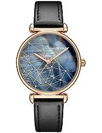 e291e2843e9 Taylor Cole Reloj Mujer de Moda con Correa de Cuero Analógico Cuarzo Reloj  de pulsera Negro