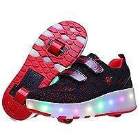 احذية تزلج للفتيات والفتيان، احذية تزلج مزدوجة للاطفال للاستعمال الخارجي، احذية مضيئة للاولاد, (أحمر), 27 EU