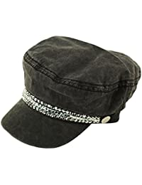 7870d46a9e1 David   Young Ladies Summer Cotton Greek Fisherman Sailor Fiddler Driver Hat  Flat Cap Bling Black