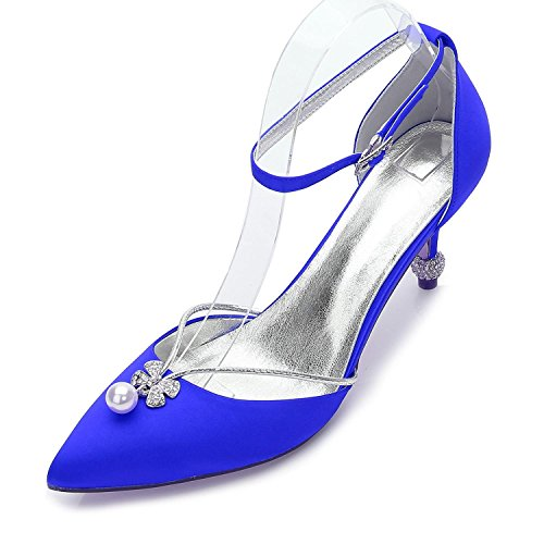 L@YC Scarpe da Donna Primavera Estate Autunno Tacchi Punta a Punta Paillettes per Matrimonio Ufficio e Carriera Festa e Serata/Avorio Blue
