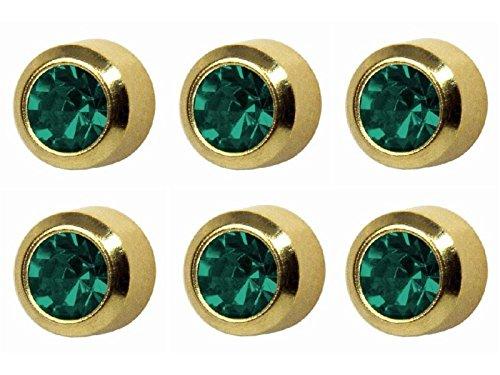 6paia di Studex Piercing da orecchio dicembre/Blu zircone Birthstone Orecchini a bottone placcati oro Mini 2mm castone