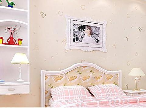 ANNDEEW Caricature de papier peint non-tissé ABC alphabet fonds d'écran chambres chambre d'enfant pour garçons et filles , natural plain