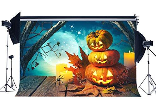 Sunny Star Vinyl Halloween Horror Night Hintergrund 7x 150'All Saints Day Kulissen Rollenspiele Kürbisse Lampen Spider Ghastful Forest Fotografie Hintergrund für Kinder Erwachsene Masquerade Foto Studio Requisiten HL17