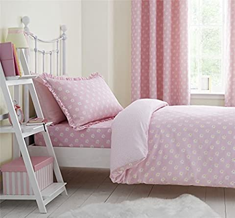 DAISIES KIDS PINK WHITE DOUBLE COTTON BLEND REVERSIBLE GINGHAM CHECK DUVET COVER
