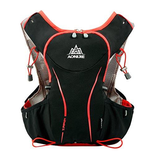 Local Lion Laufrucksack Trinkrucksack Fahrradrucksack Hydration Pack Ultraleicht 5L mit Trinksystem für Radsport, Laufen, Joggen, Wandern, Radfahren, Camping, Bergsteigen und Marathon Schwarz