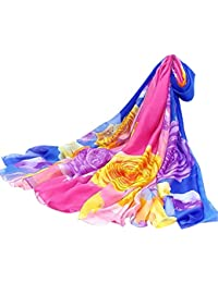 9ad517b50e29 Femmes Plume Imprimé Écran solaire Châle Foulard en mousseline de soie cou  Longue élégante Écharpes Classique