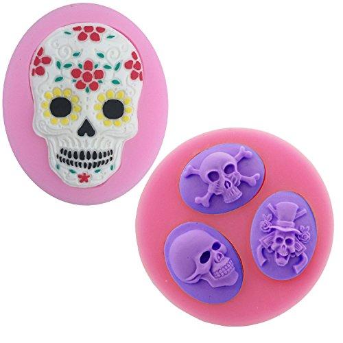 Sugar Skull Silikon Formen Set–moldfun Skull Form für Backen Fondant Clay Harz Kuchen Candy Schokolade Cookie, Best für Tag der Toten