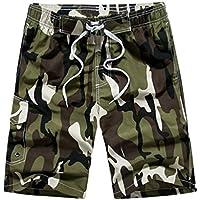 Pantalones cortos de verano de camuflaje para hombres con bolsillos Traje de baño de secado rápido Pantalones cortos de baño elásticos ocasionales Pantalones cortos de tabla de surf de playa - Verde militar L