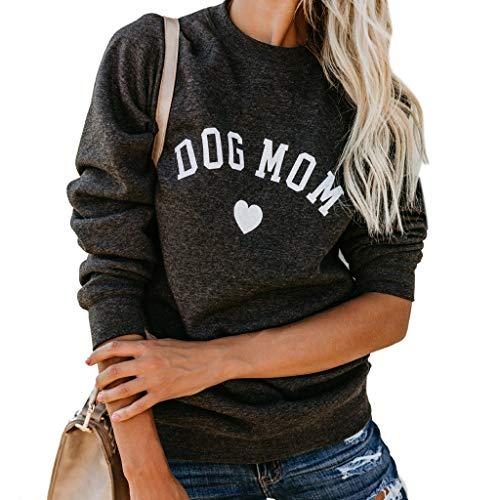 ZOUCY Women Dog Mom Tee Shirt Letter Print Sweatshirt Women's Casual Long Sleeve Letter Print Cute Graphic Sweatshirt - Deep Gray - Medium Super Mom-sweatshirt