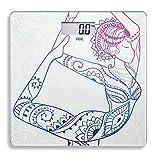 ADE Digitale Personenwaage BE 1603 Sheila. Elektronische Glaswaage mit inspirierendem Yoga-Lifestyle-Print. Zur genauen Gewichtsbestimmung bis 180 kg. Inklusive Batterie