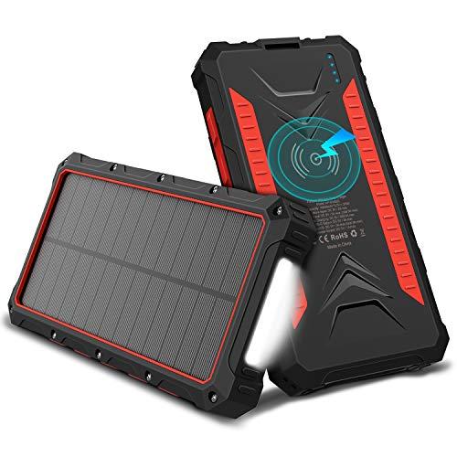 OUTXE Powerbank Wireless Charger Solar Ladegerät 10000mAh Tragbares Kabellose Qi Power Bank mit Taschenlampe