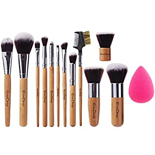 EmaxDesign 12+1 Teilig Make-up Pinselsets, 12 Teilig Bambus-griff Professionell Premium synthetisch Kabuki Foundation Blending Blush Kosmetikpinsel Set + 1 Teilig EmaxBeauty Blender Schwamm