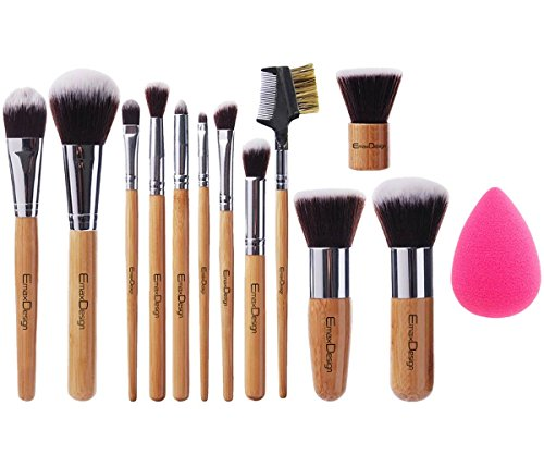 EmaxDesign 12+1 Teilig Make-up Pinselsets, 12 Teilig Bambus-griff Professionell Premium synthetisch...