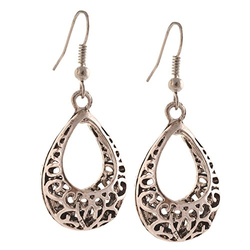 Zephyrr Fashion German Silver Ethnic Beaded dangler Hook Earrings  available at amazon for Rs.129