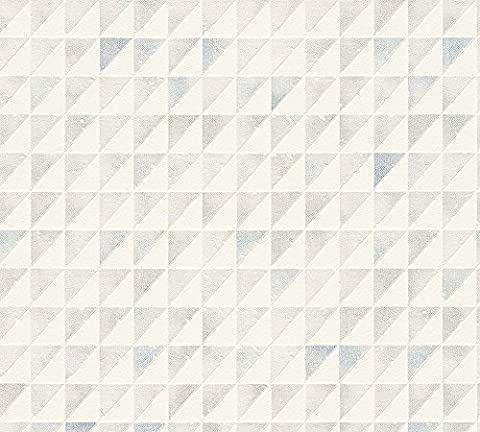 Tapete SCHÖNER WOHNEN Grafik Dreieck Vinyltapete grau blau 32456-1