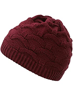 4sold Wave para mujer gorro de lana gorro tejido forro gorro de invierno gorro de esquí y snowboard sombreros