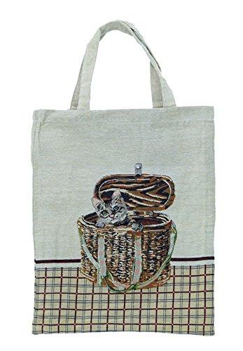 Bowatex Sac cabas sac pochette en tissu Shopper Bag poche de bistro Tapisserie royaltex Signare Motif 1 chat dans panier FA