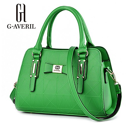 (G-AVERIL)Donne Boutique moderno ed elegante maniglia superiore borsa del messaggero della borsa della spalla del Tote casuale del lavoro Bauletto Rosso verde