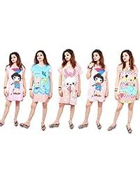 ce3027ad6e8 MUKHAKSH (Pack of 5 Pieces) Girl s Women s Ladies Hosiery Short Cartoon Print  Nighty Night Wear Lounge Wear- Assorted…