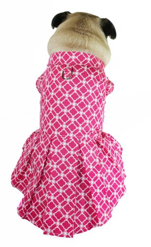 Anspruchsvolles Pup Isabella Box Falte Hund Kleid, XX-small, Peony Pink -