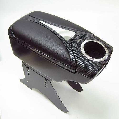 CarJoy - 48011, bracciolo centrale universale con portaoggetti, in carbonio ed ecopelle