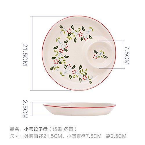 Holly Grid (YUWANW Nordic Berry Holly Red Festliche Kreative Keramik Mit Essig Gericht Knödel Frühstück Teller Fast Food Snacks Grid, Stechpalme 8 Zoll Kleine Knödel Dish Diese Unterseite Unglasiert)