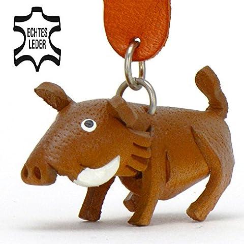 Wildschwein Werner - Stopp Schlüsselanhänger Figur aus Leder von Monkimau