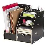 Aktenordner aus Holz, multifunktional, Schreibtisch-Organizer, Ablage für Schreibtisch-Zubehör, Ablage für Schreibtisch oder Theke Schwarz A