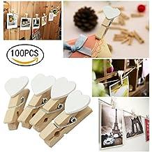 100 Stk mini clavijas de madera clips de fotos Artesanía niños favor de la boda favor de la oferta corazón blanco clavijas de madera