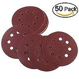 UEETEK Haken und Schleife Schleifen Discs 8 Loch 5 Zoll 100 Schleifpapier Runde Form (eine Packung mit 50)