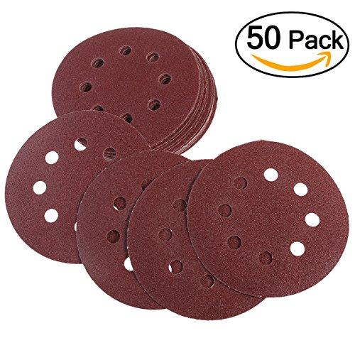5 Zoll Schleifpapier Disc (UEETEK Haken und Schleife Schleifen Discs 8 Loch 5 Zoll 100 Schleifpapier Runde Form (eine Packung mit 50))