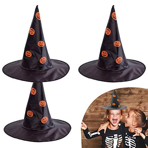 FunPa 3PCS Hexen Hut Partyhut Kreativ Kürbis Muster Halloween Hut Kostüm Hut Für Kind